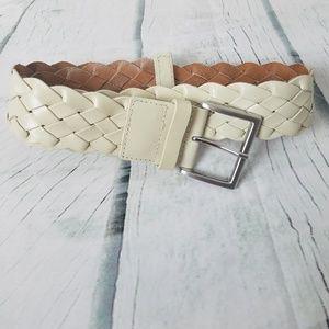 Banana Republic   Cream Braided Cow Leather Belt